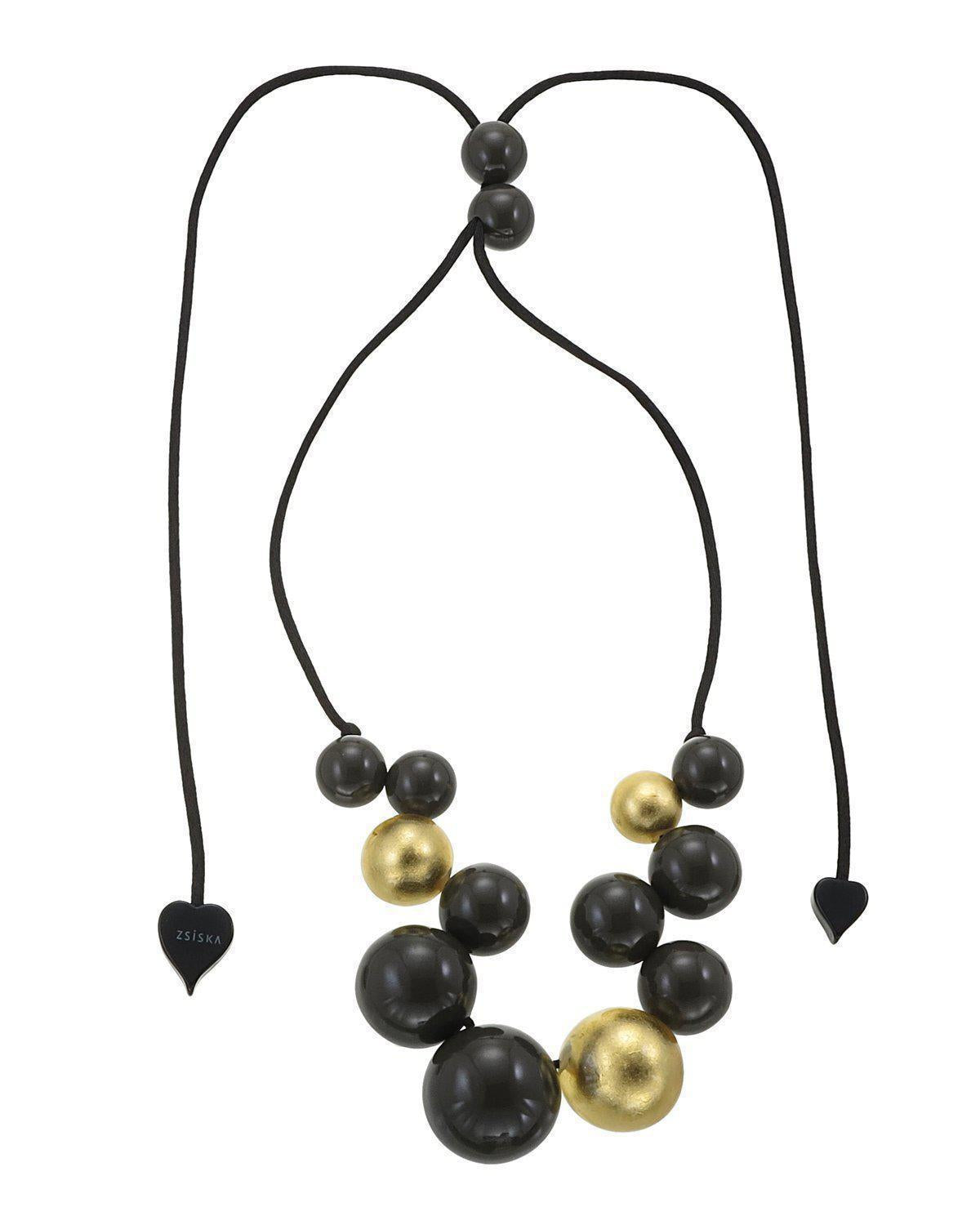 Zsiska Bolas Rich Gold and Khaki Necklace