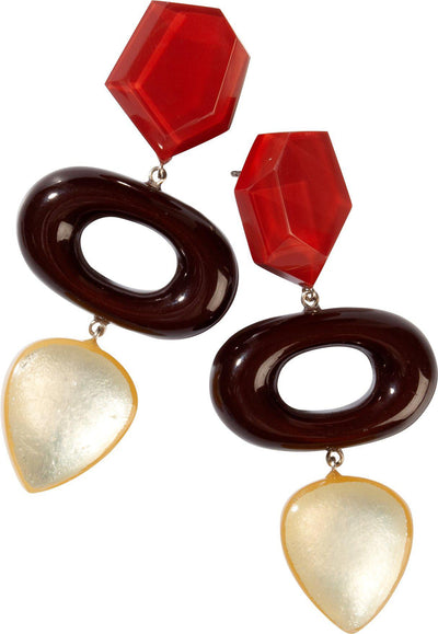 Zsiska Chorus Triple Beaded Red and Gold Drop Earrings-Jewellery-Zsiska-Temples and Markets