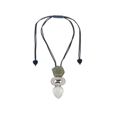 Zsiska Chorus Triple Beaded Silver and Beige Pendant-Jewellery-Zsiska-Temples and Markets