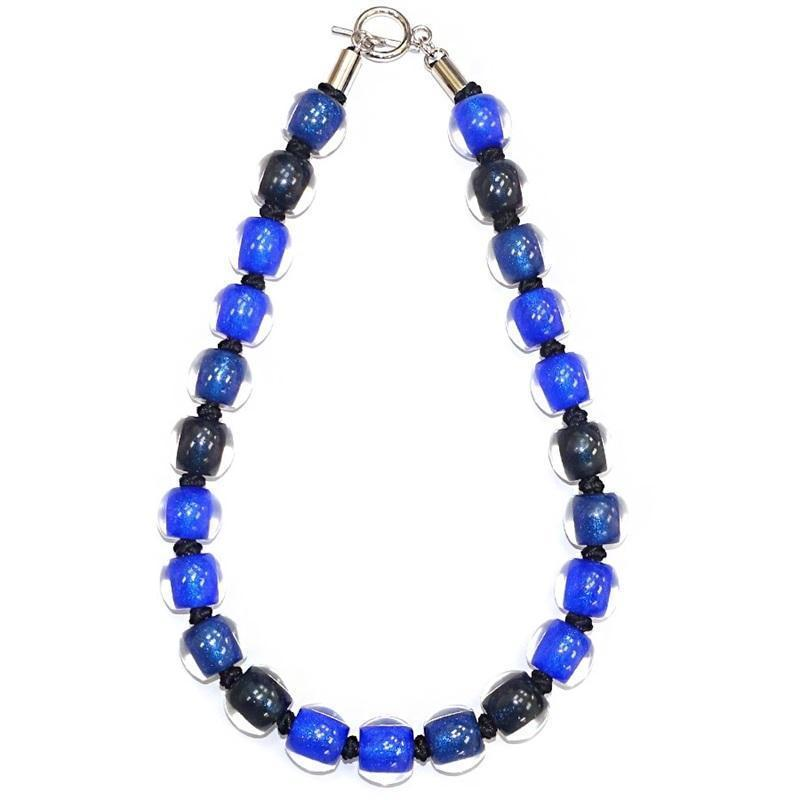 Zsiska Colourful Beads Marine Blue Combo Necklace-Jewellery-Zsiska-Temples and Markets