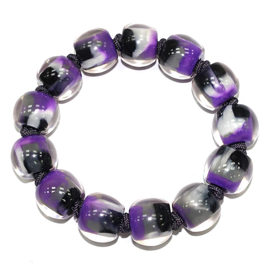 Zsiska Colourful Beads Purple Marble Bracelet-Jewellery-Zsiska-Temples and Markets