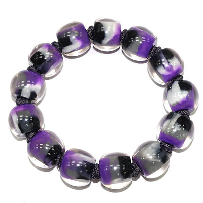 Zsiska Colourful Beads Purple Marble Bracelet-Zsiska-Temples and Markets