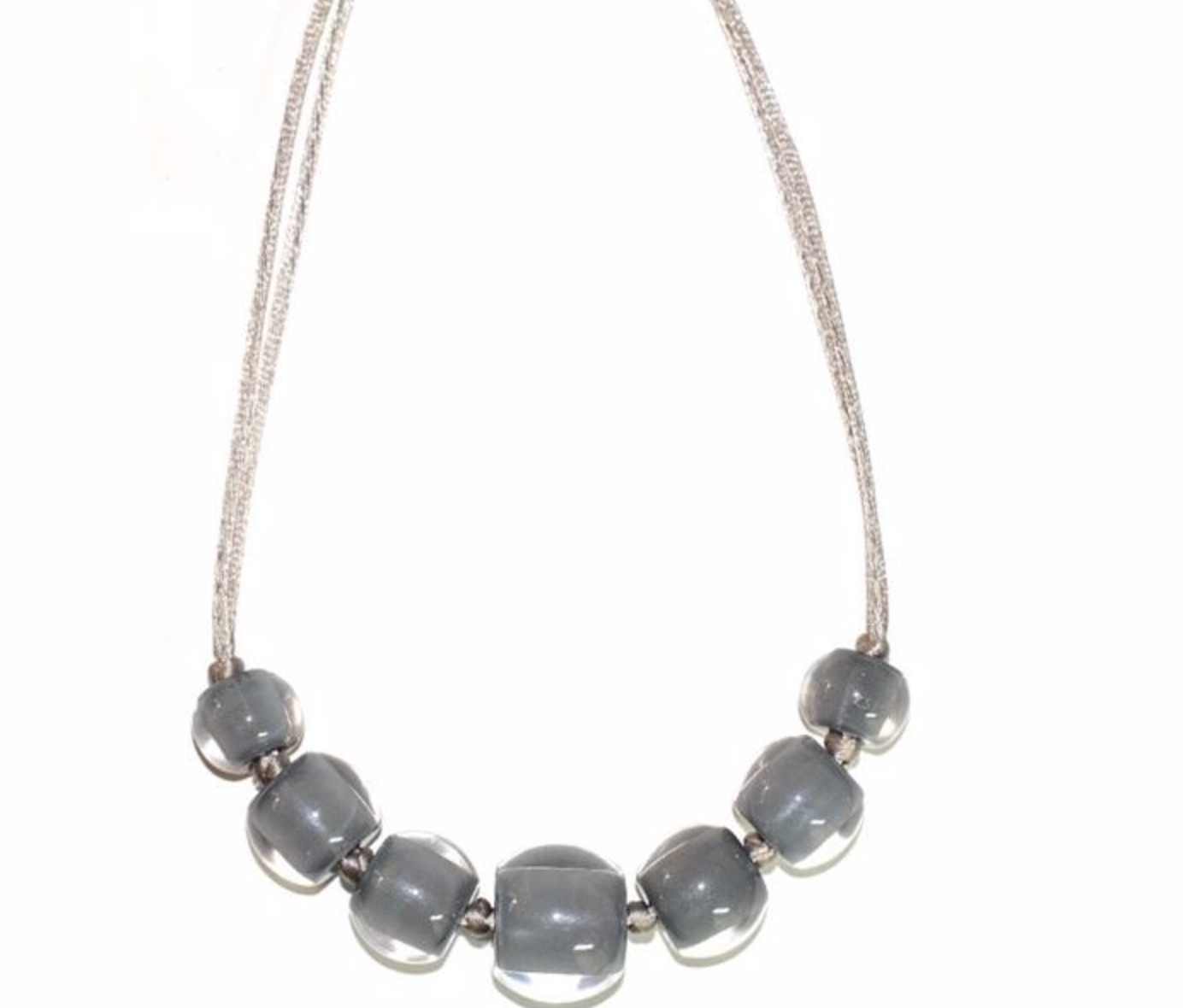 Zsiska Colourful Beads Soft Grey Necklace-Jewellery-Zsiska-Temples and Markets