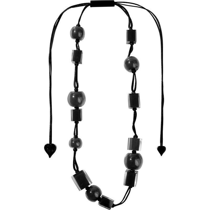 Zsiska Colourful Cubes and Beads Black Resin Adjustable Necklace-Jewellery-Zsiska-Temples and Markets