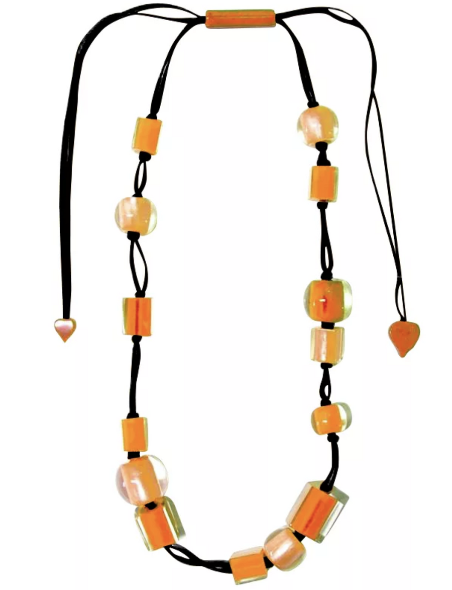 Zsiska Colourful Cubes and Beads Orange Resin Adjustable Necklace-Jewellery-Zsiska-Temples and Markets