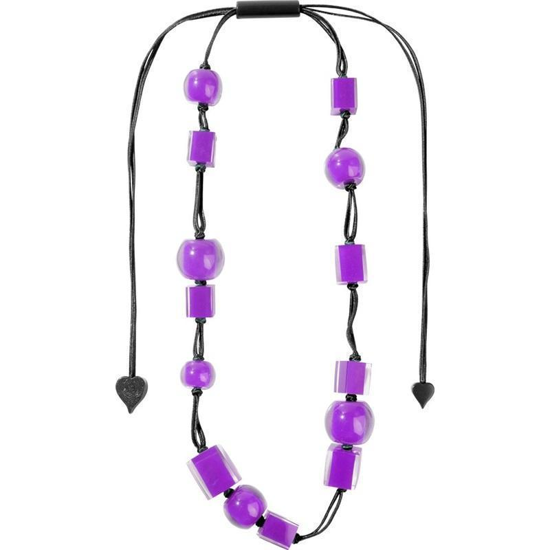 Zsiska Colourful Cubes and Beads Purple Resin Adjustable Necklace-Jewellery-Zsiska-Temples and Markets