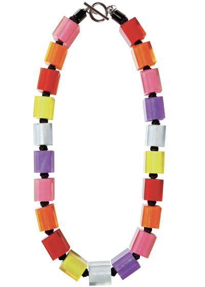 Zsiska Colourful Cubes Spectrum Necklace-Jewellery-Zsiska-Temples and Markets
