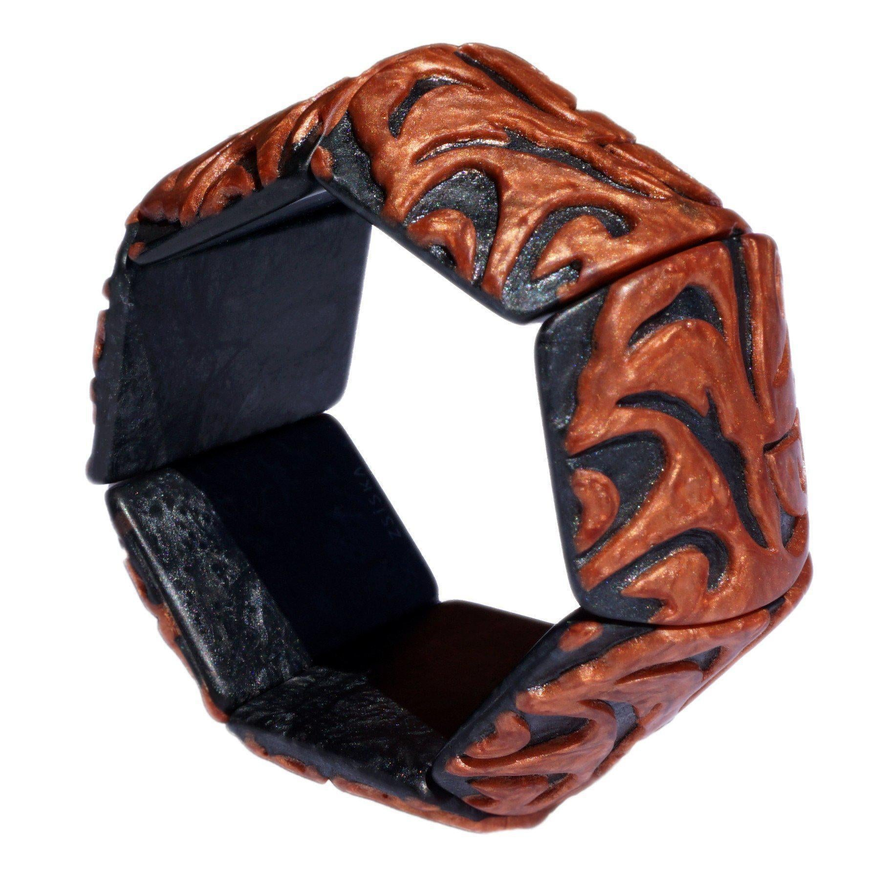 Zsiska Damasco Bangle-Jewellery-Zsiska-Orange-Medium-Temples and Markets