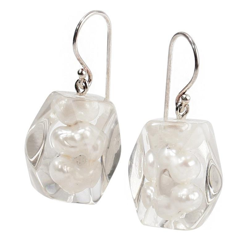 Zsiska Frozen Pearls Drop Earrings-Jewellery-Zsiska-White-Temples and Markets
