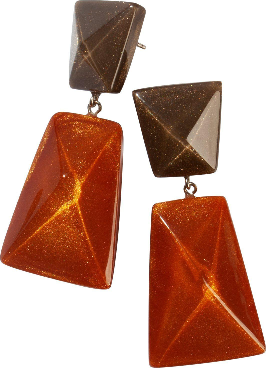 Zsiska Herrera Orange and Brown Beaded Drop Earrings