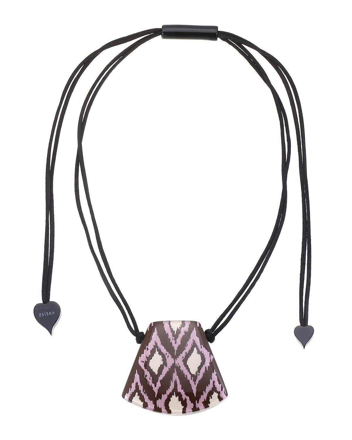 Zsiska Ikat Brown and Purple Pendant Necklace on Adjustable Rope-Jewellery-Zsiska-Temples and Markets