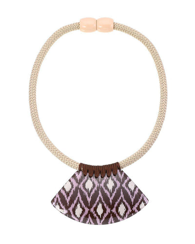 Zsiska Ikkat Brown and Purple Pendant on Choker Necklace-Zsiska-Temples and Markets