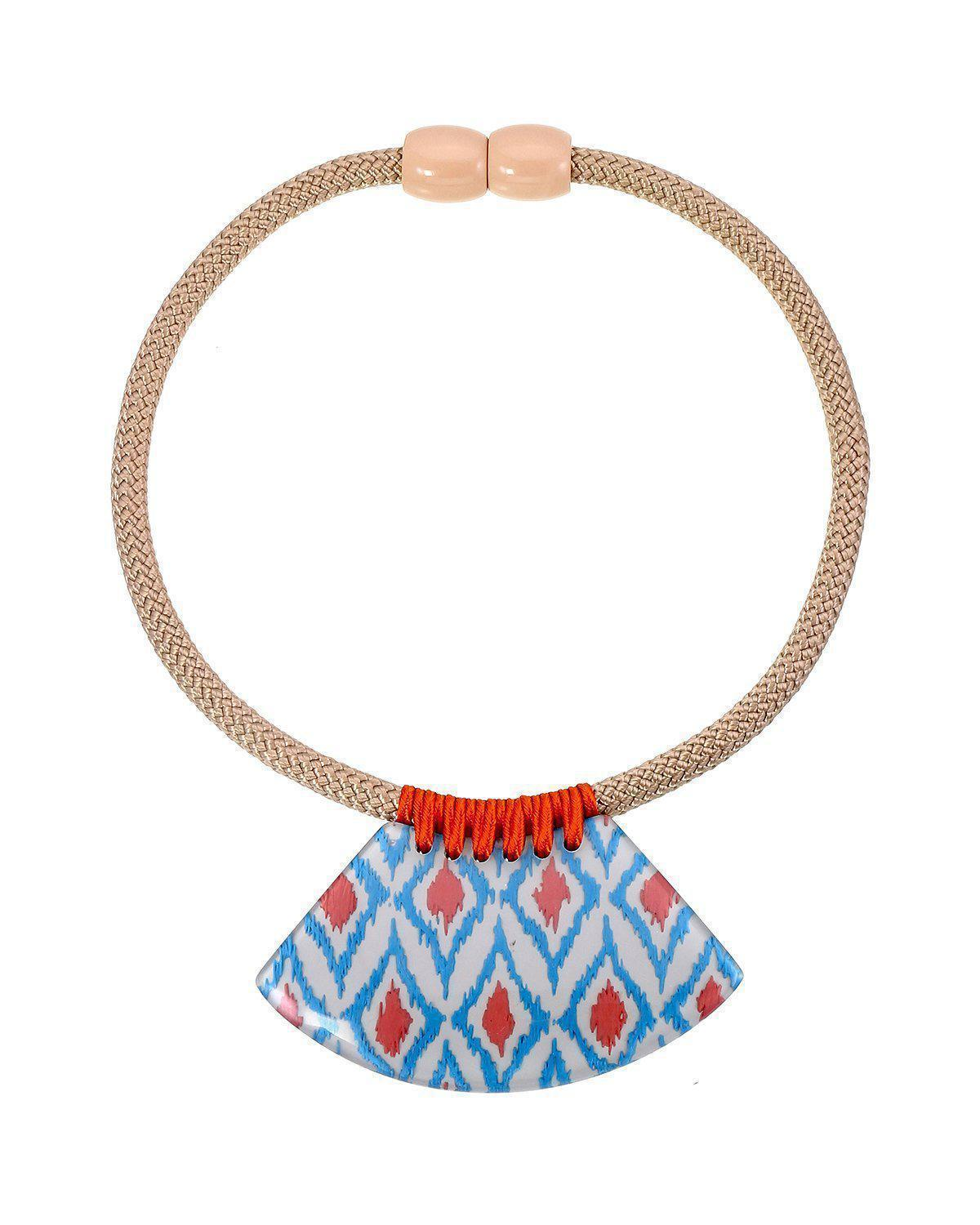 Zsiska Ikkat White, Blue and Orange Pendant on Choker Necklace-Jewellery-Zsiska-Temples and Markets