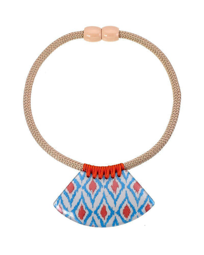 Zsiska Ikkat White, Blue and Orange Pendant on Choker Necklace-Zsiska-Temples and Markets
