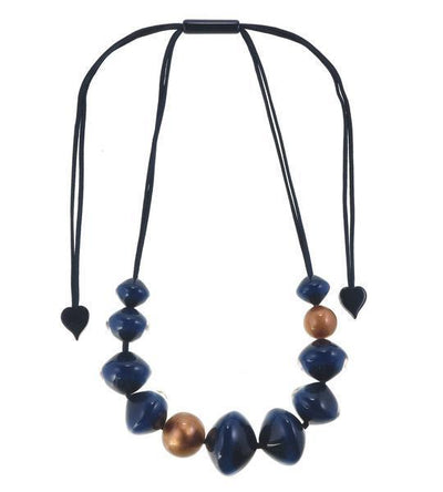 Zsiska Malai Blue and Copper Adjustable Beaded Necklace-Jewellery-Zsiska-Temples and Markets