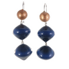 Zsiska Malai Blue and Copper Bead Drop Earrings on Sterling Silver Hooks-Jewellery-Zsiska-Temples and Markets