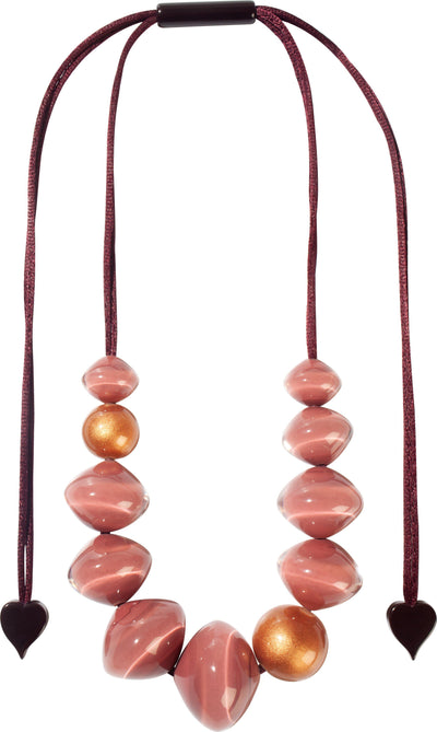 Zsiska Malai Pink and Copper Adjustable Beaded Necklace-Jewellery-Zsiska-Temples and Markets
