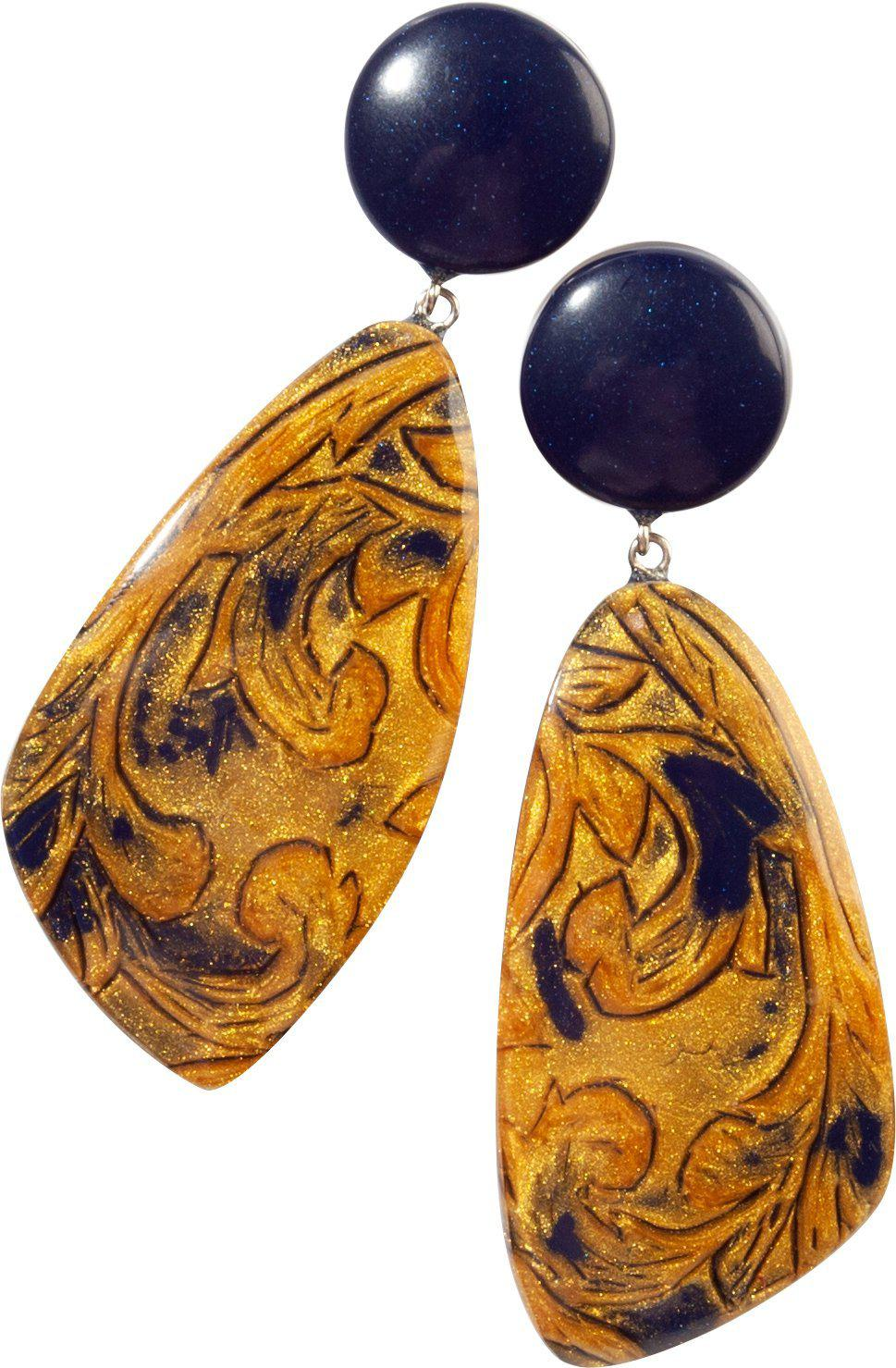 Zsiska Noble Blue and Gold Drop Earrings