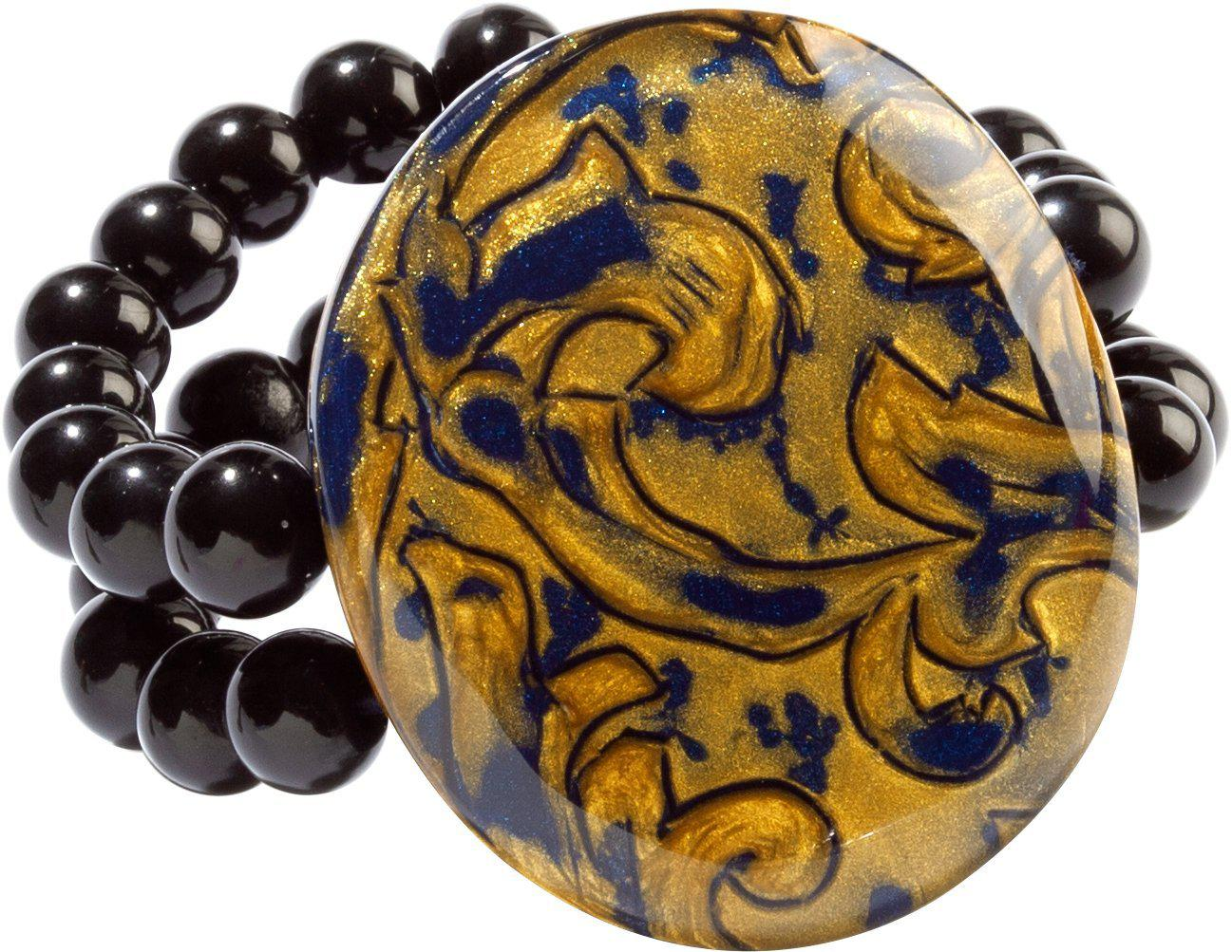 Zsiska Noble Blue and Gold Elasticated Bead Bracelet-Jewellery-Zsiska-Temples and Markets
