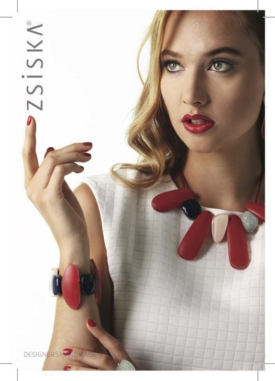 Zsiska Origin Red, Navy and Silver Resin Bracelet-Jewellery-Zsiska-Temples and Markets