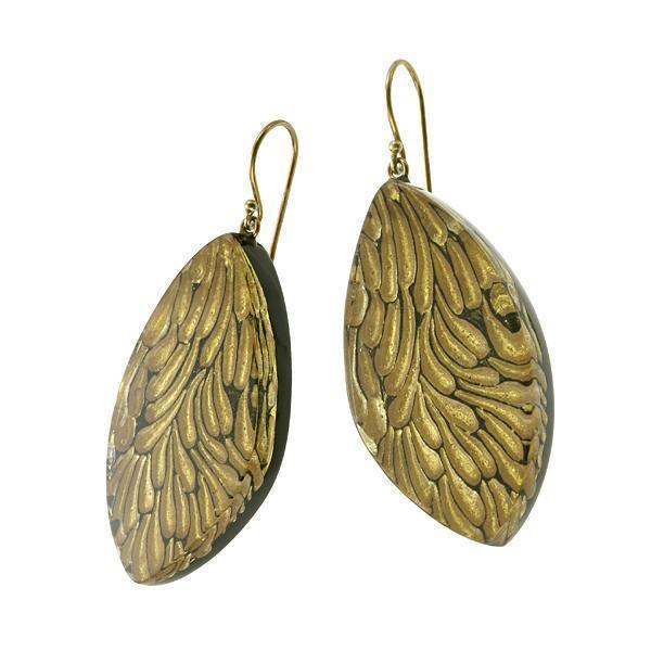 Zsiska Pluma Gold Earrings-Jewellery-Zsiska-Temples and Markets