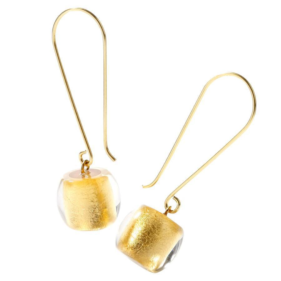Zsiska Precious Gold Drop Earrings-Jewellery-Zsiska-Temples and Markets