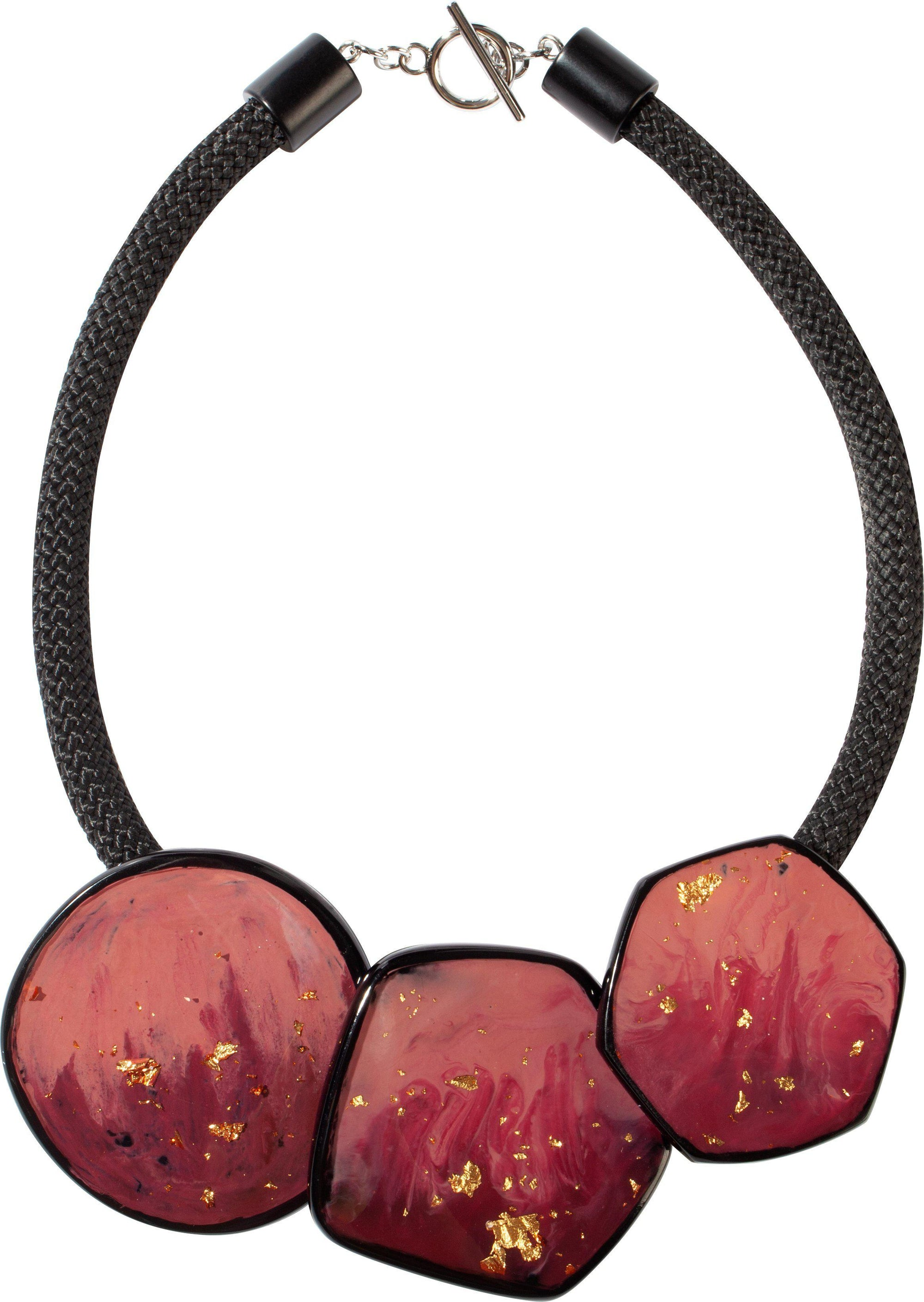 Zsiska Sky Dusty Pink and Gold Leaf Short Necklace