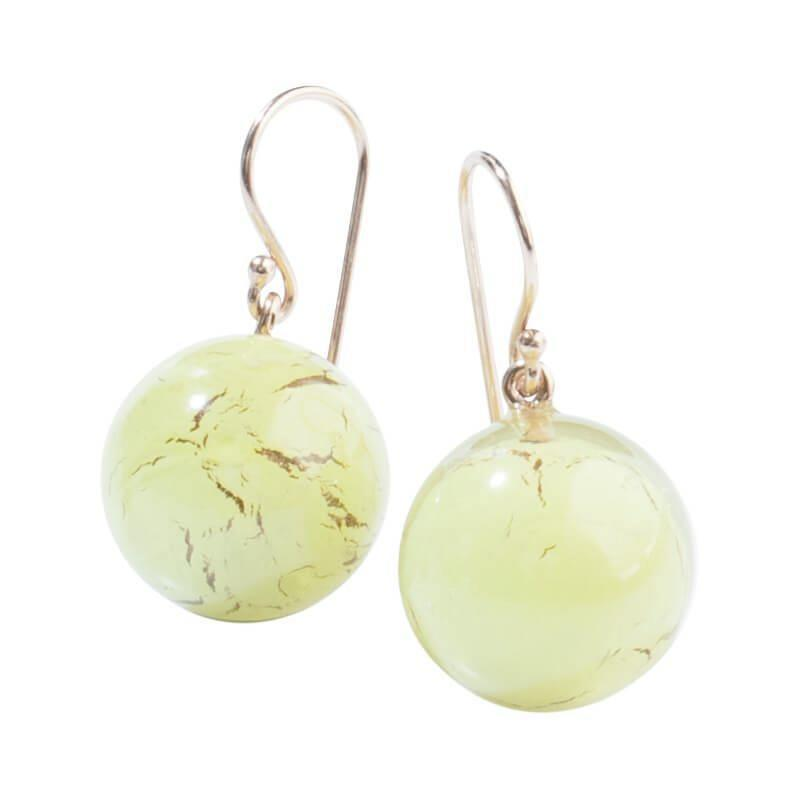 Zsiska Terra Khaki Green Marble Affect Drop Earrings