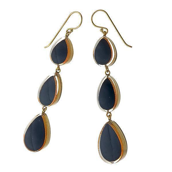 Zsiska Vogue Gold and Black Drop Earrings-Zsiska-Temples and Markets