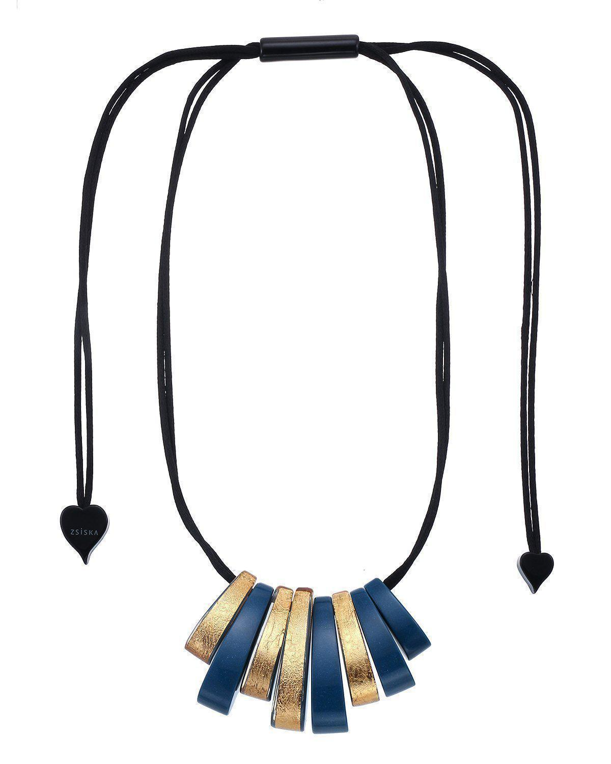 Zsiska Vogue Teal Blue and Gold Necklace
