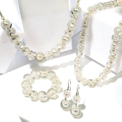 Zsiska Bubbling Pearls Double Drop Earrings