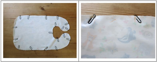 Sewing the back and the front pieces of fabric together to create a baby's bib.