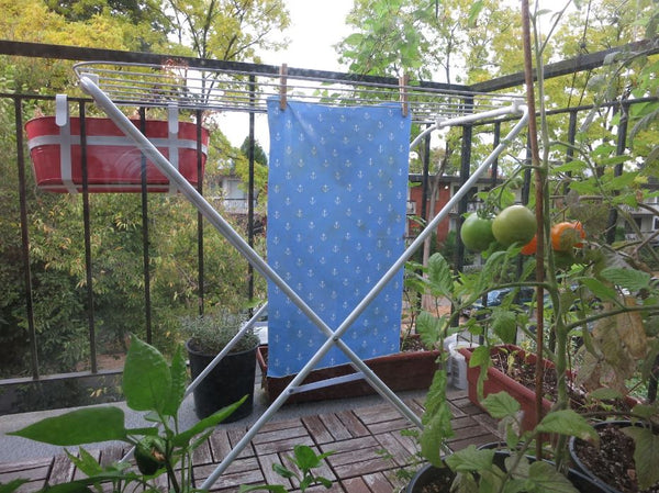 Hanging the homemade food wrap to dry