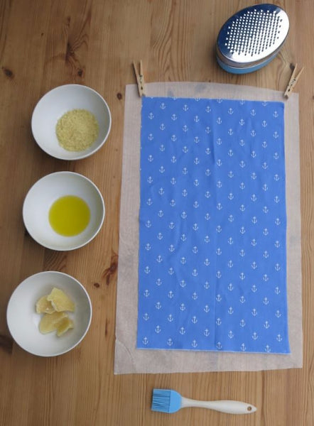 All the tools you need to make your own wax food storage wraps!