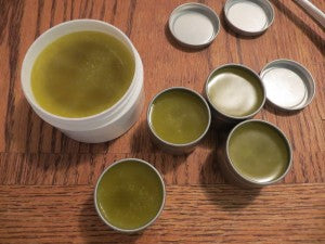 Anti-inflammatory salve lovingly hand-crafted using plantain and comfrey harvested from within 100 steps of my front door.