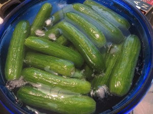 If your cukes aren't just-picked, an ice water bath will perk them up.