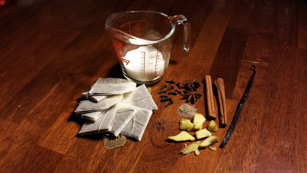 herbs, sugar, and spices for homemade chai syrup