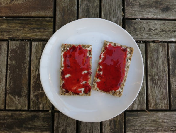 Homemade Strawberry Jam on Crackers