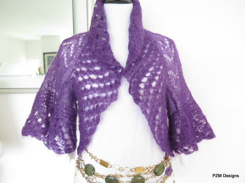 Purple silk mohair shrug