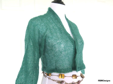 kelly green silk cardigan