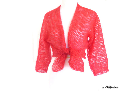 orange mohair wrap cardigan