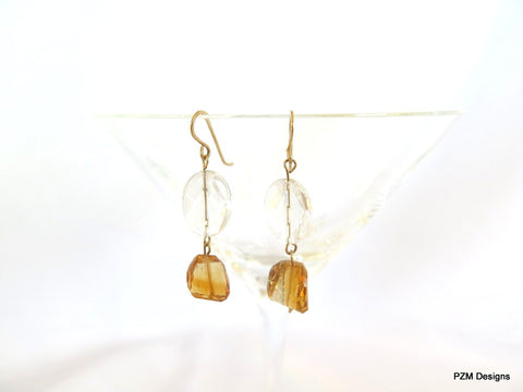Gold Citrine Drop Earrings, Minimalist jewelry gift for her