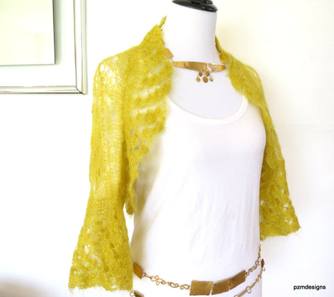 Mustard mohair sweater shrug, yellow silk and kid mohair hand knit luxury bolero cardigan