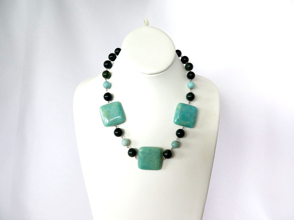 Amazonite and bloodstone necklace, Fine Jewelry Statement Necklace - PZM Designs