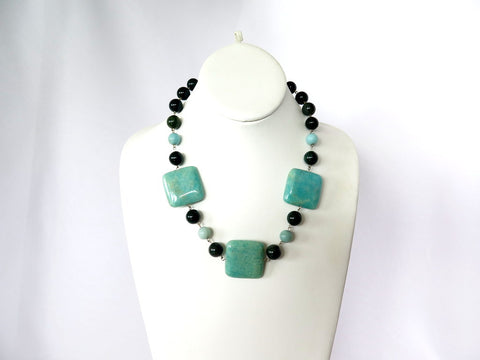 Amazonite and Bloodstone Handmade Necklace