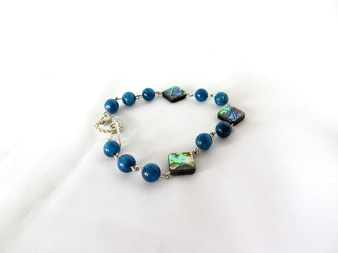Abalone and Blue Apatite Tennis Bracelet