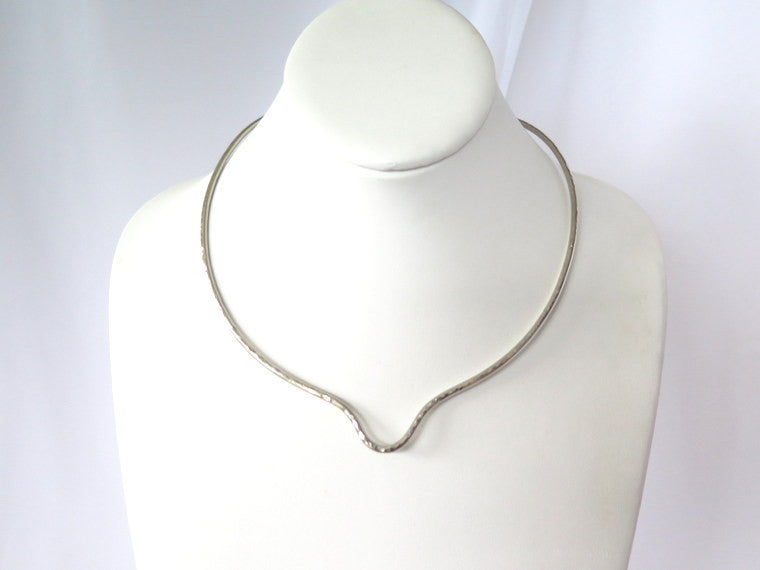 Artisan hammered neck piece, silver pendant slide necklace - PZM Designs