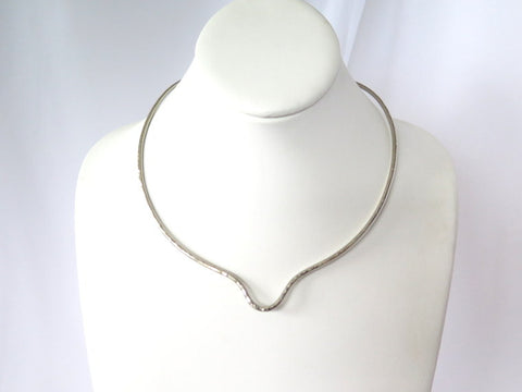 Artisan hammered neck piece, silver pendant slide necklace