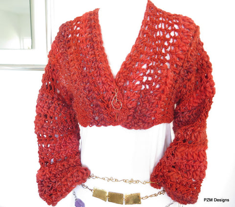 Cropped Orange Bolero Shrug made from luxury imported wool with shrug pin