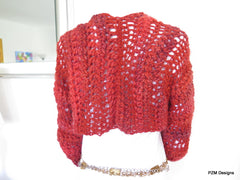 Cropped Orange Bolero Shrug made from luxury imported wool with shrug pin - PZM Designs